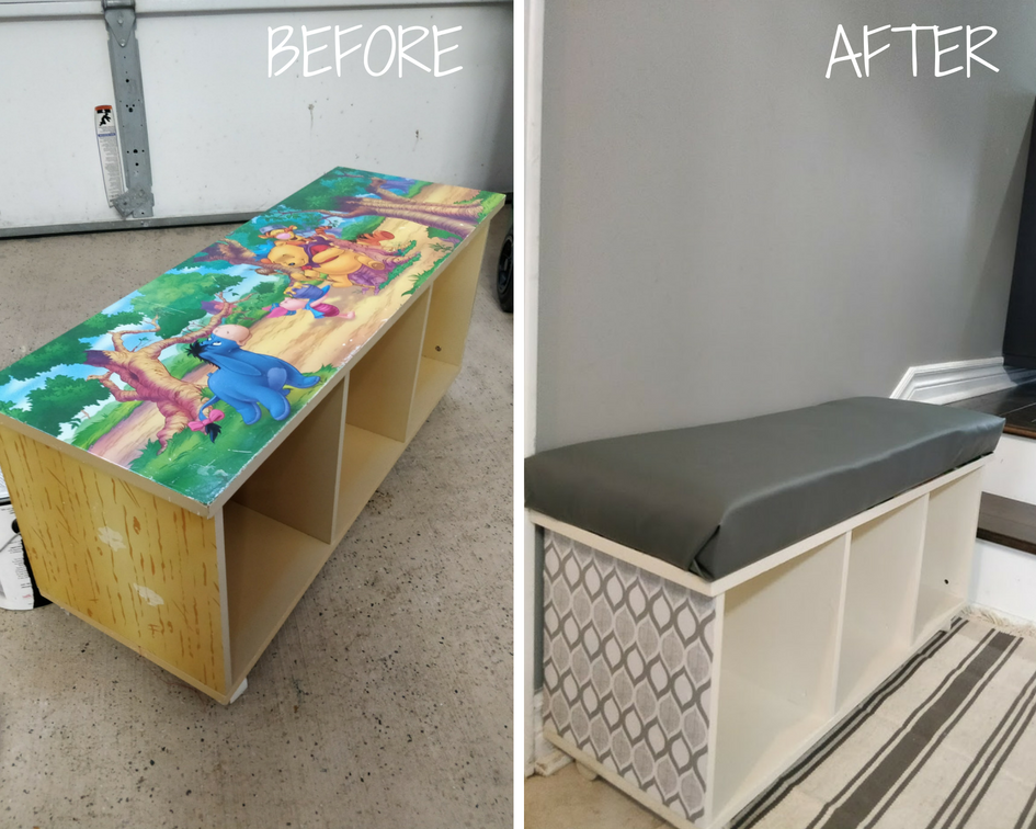 entryway bench with storage before and after