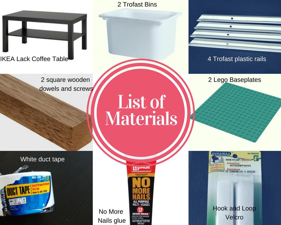 DIY Lego table hack list of materials