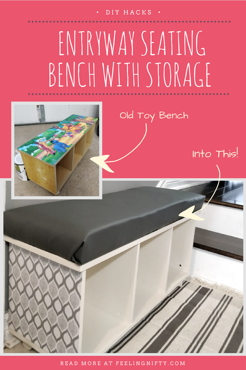 DIY hack of old Disney Shelf into Entryway seating bench with storage