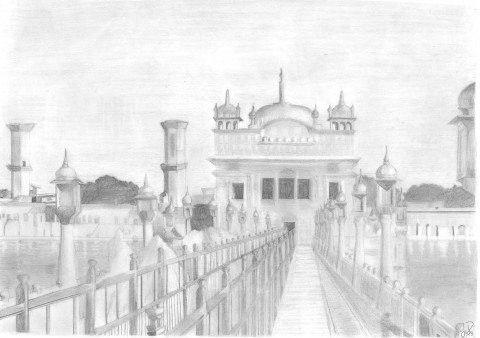 golden temple pencil sketch