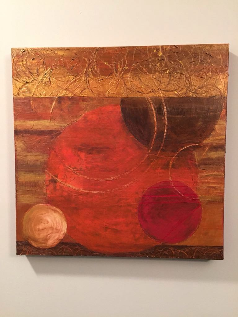 Orange Gold and Pink Abstract Painting