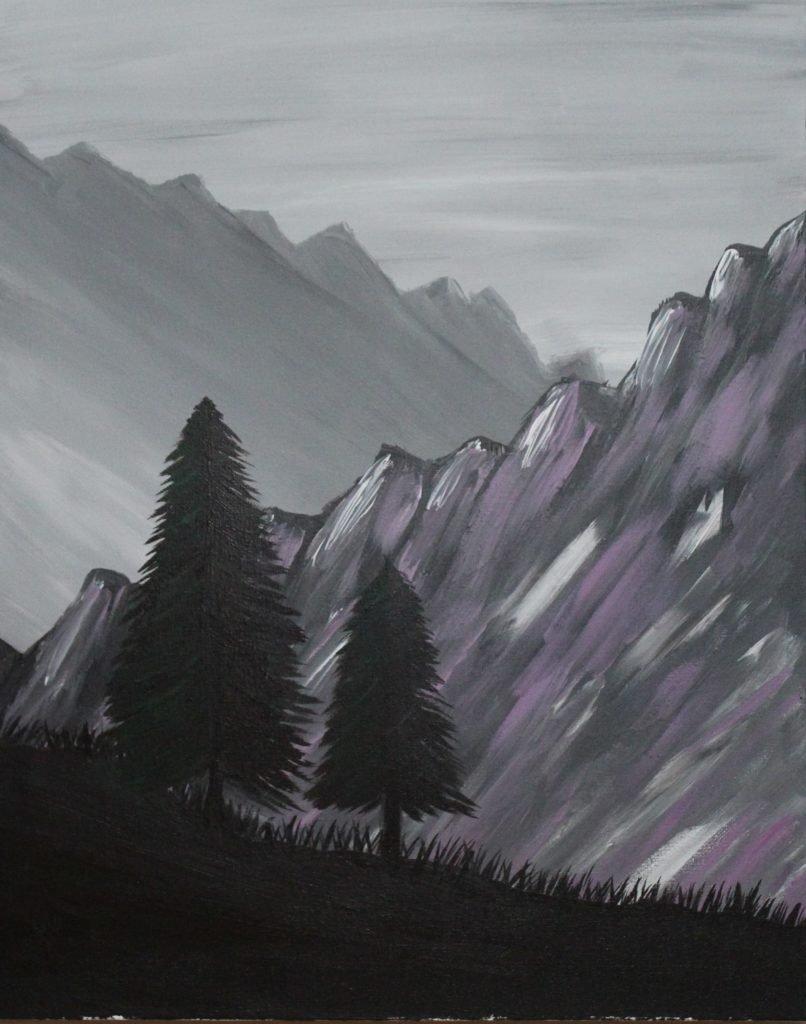 Purple Hills Acrylic Painting