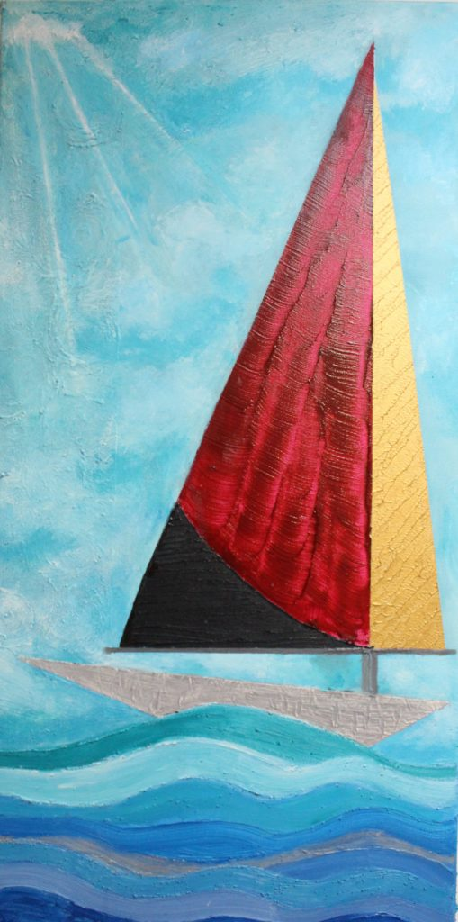 Abstract Acrylic Sailboat at Sea