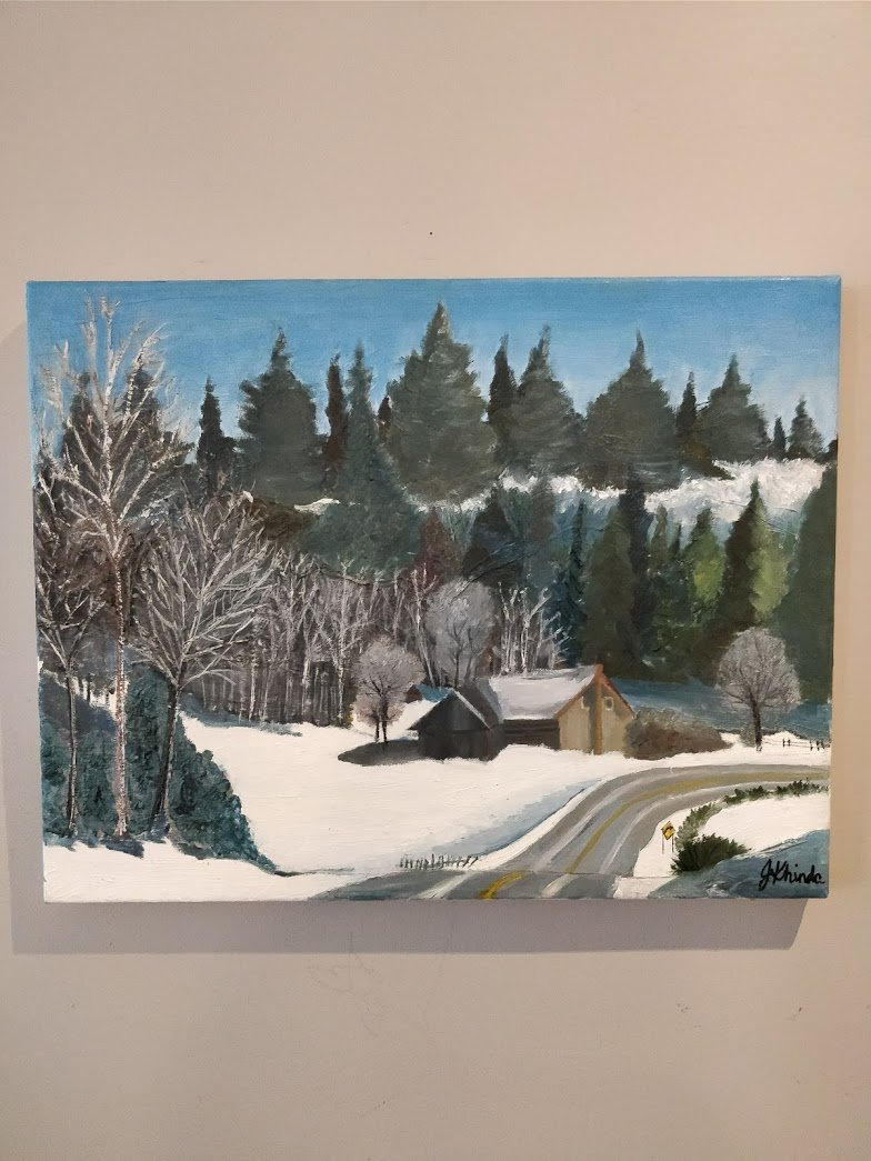 Oil on Canvas - Winter Cabin