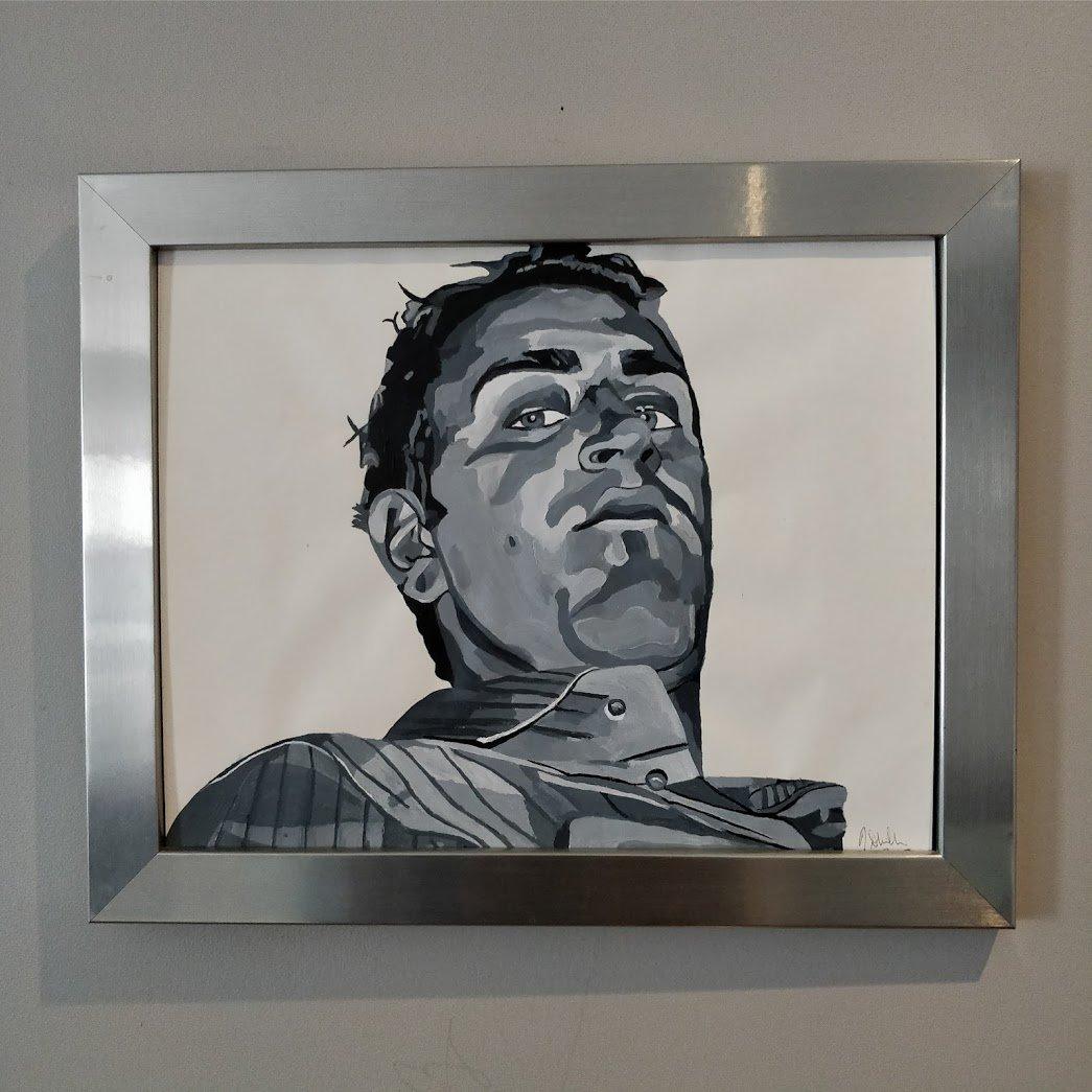 Acrylic portrait black and white Man