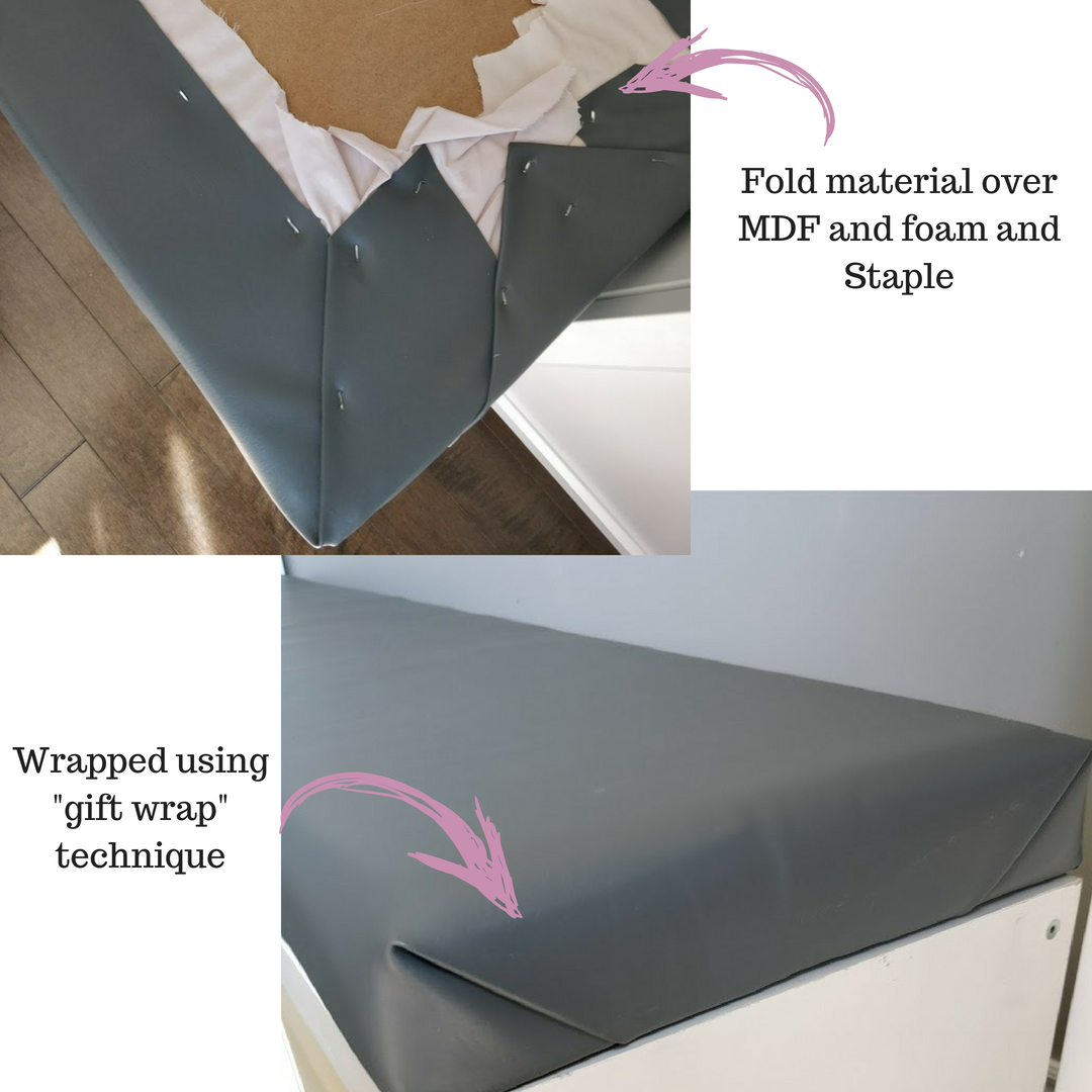wrapping and stapling material for banquette