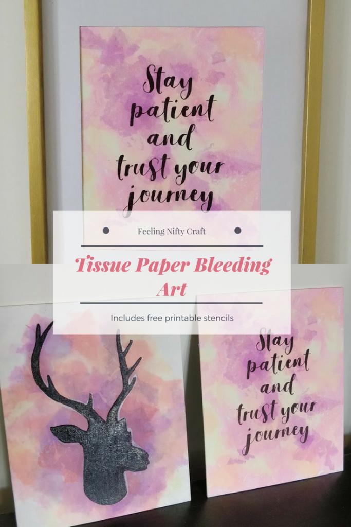 Tissue paper bleeding art easy craft DIY