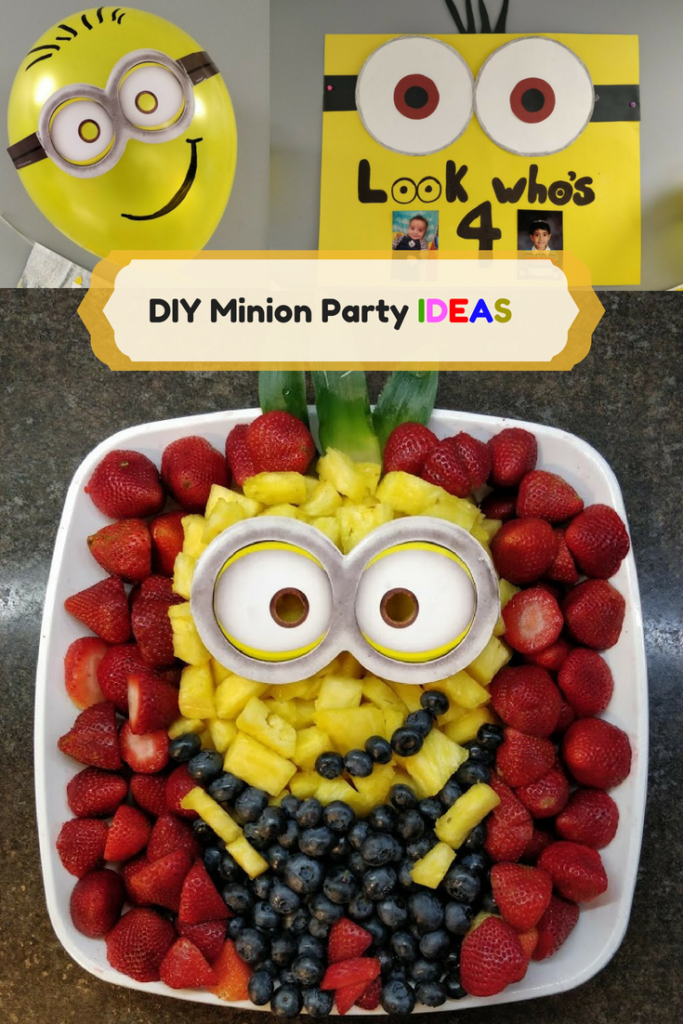 DIY Minion Party ideas fruit platter balloons poster