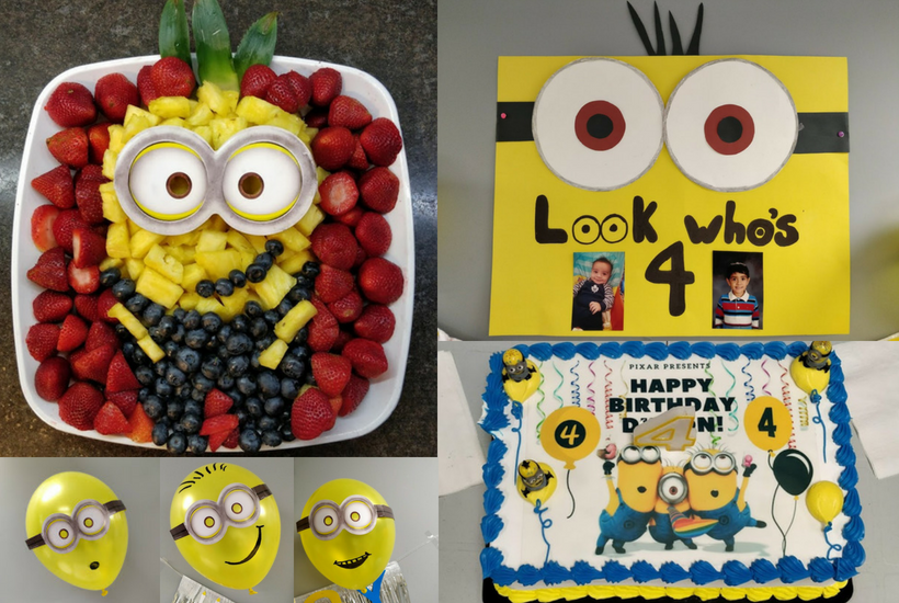 Minion DIY Birthday Party Decoration Ideas, fruit platter, cake, poster and balloons