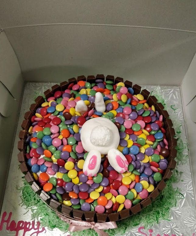 bunny bum cake easter birthdays smarties kitkat candy