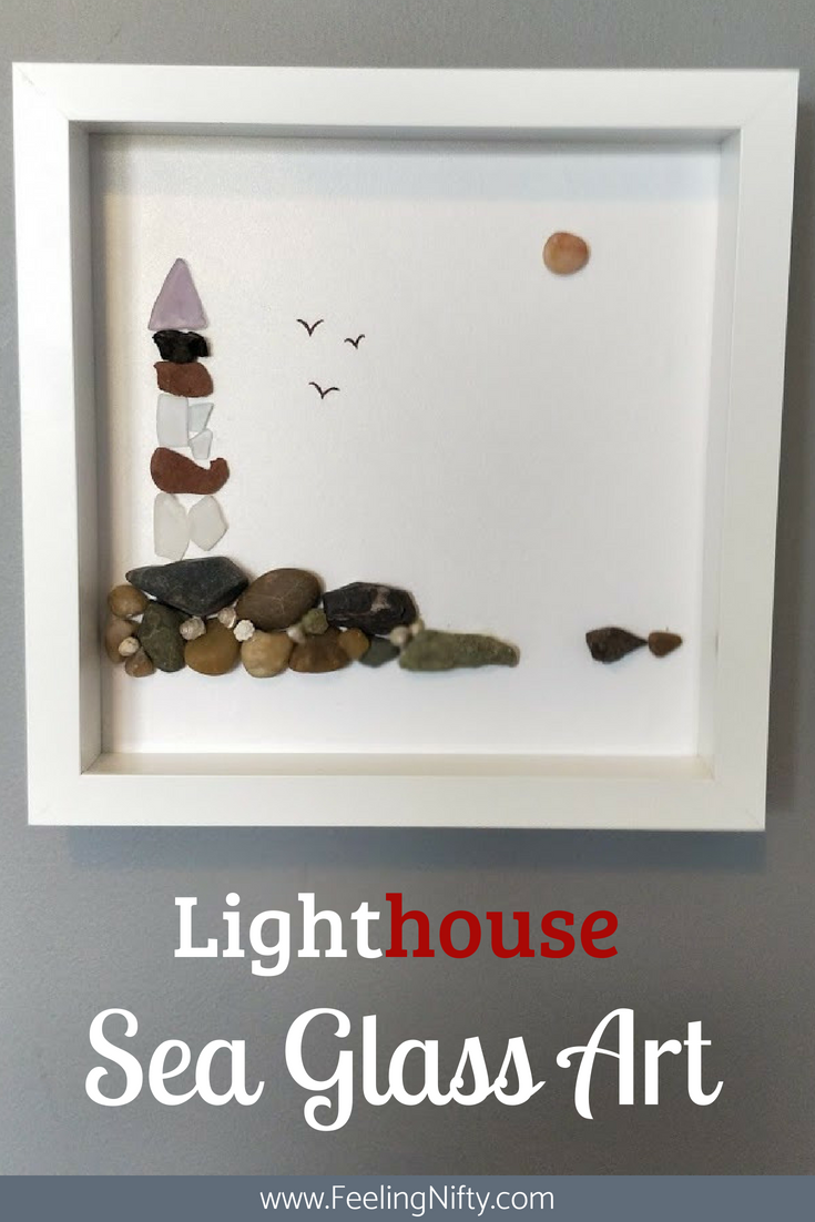 Sea Glass Art Lighthouse ready to hang small art in ikea frame