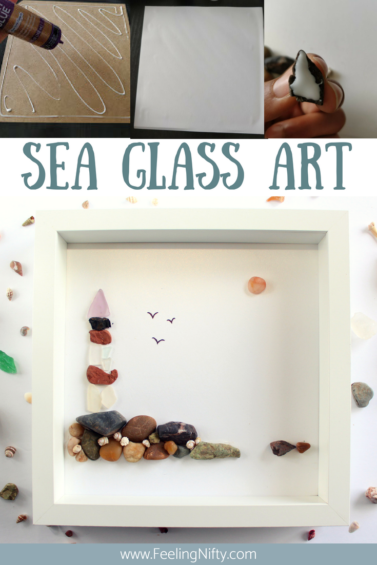 Sea Glass Art Lighthouse ready to hang small framed art tutorial