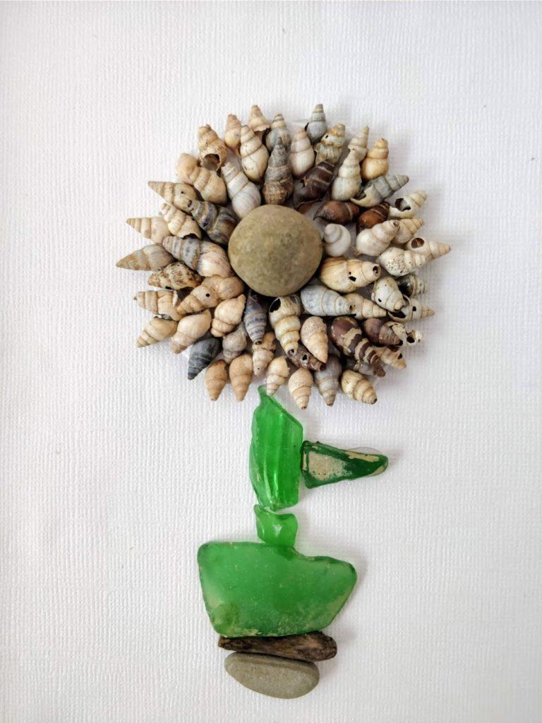 sea glass art flower