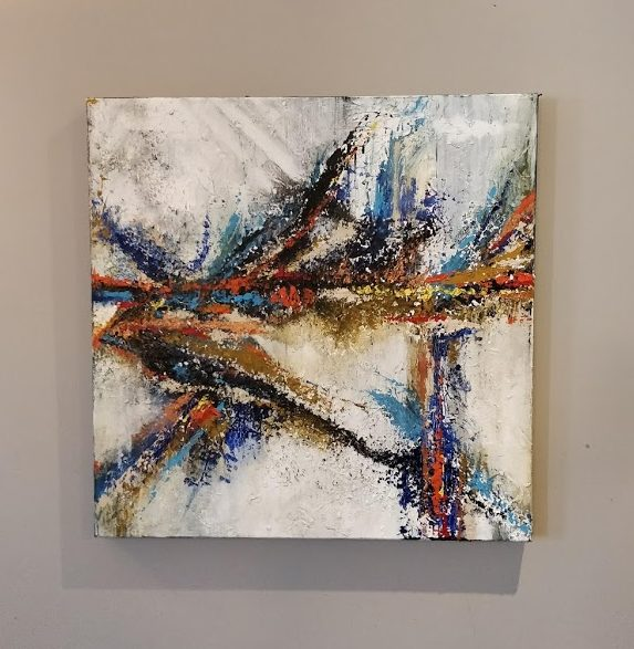 Palette knife painting using acrylic paints and eggshell texture.