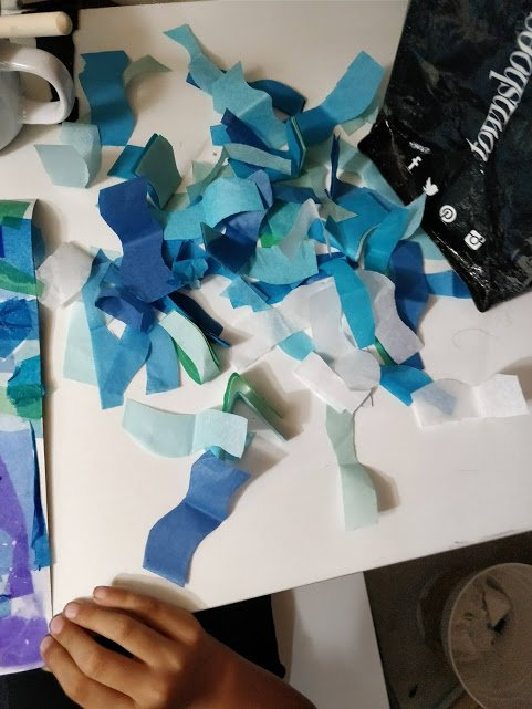 tissue paper art cut ocean wave pieces