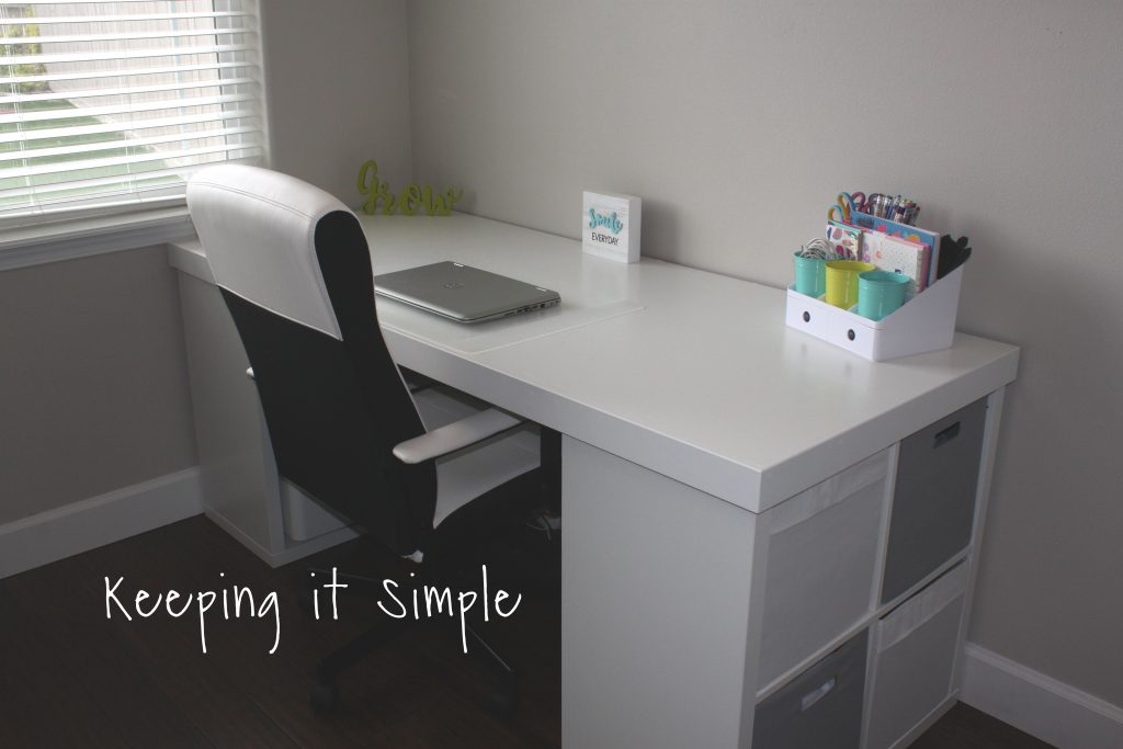DIY ikea puter desk hack with kallax shelf white