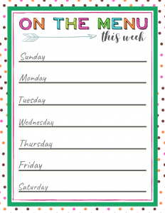 weekly meal planning free printable