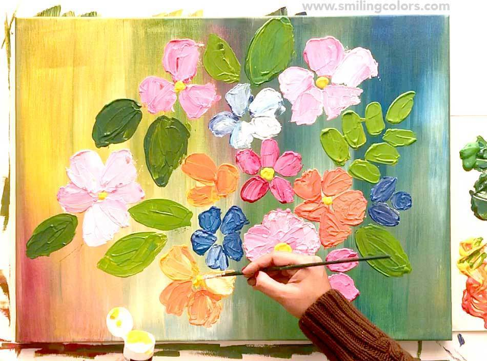 how to paint acrylic flowers step by step tutorial