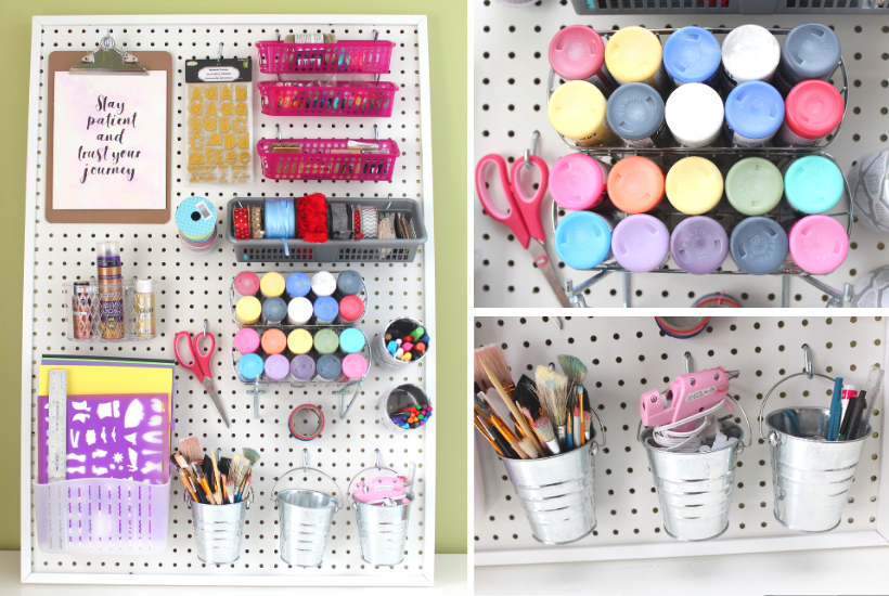 She S Crafty Pegboard Craft Room Storage With Vintage Yardsticks