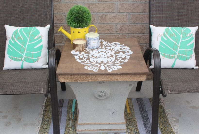 DIY outdoor side table with storage for patio
