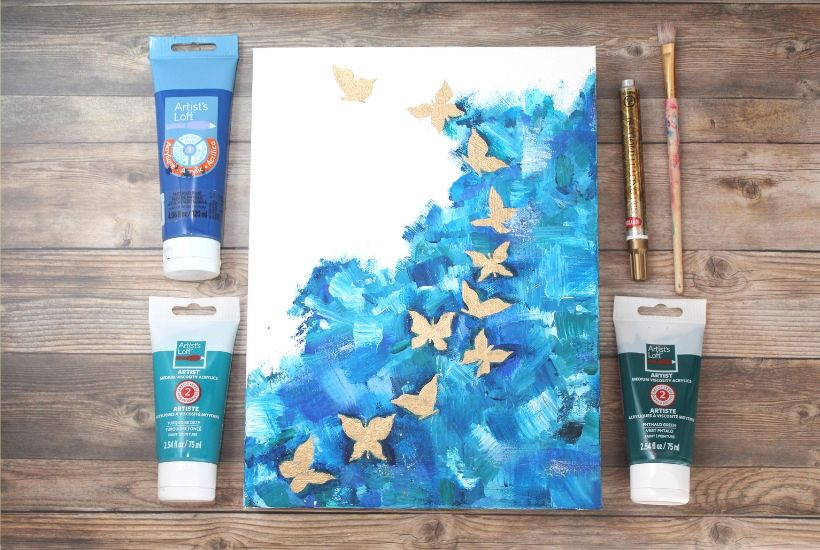 abstract butterfly acrylic painting for beginners(2)