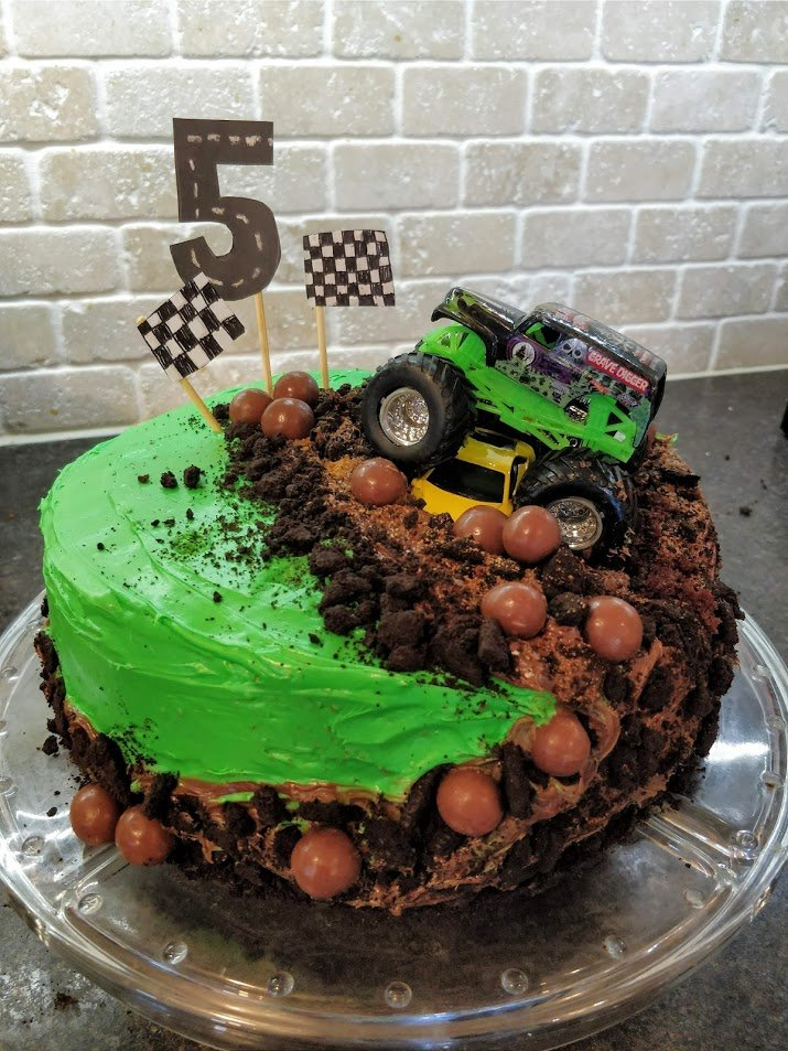 DIY monster truck birthday cake