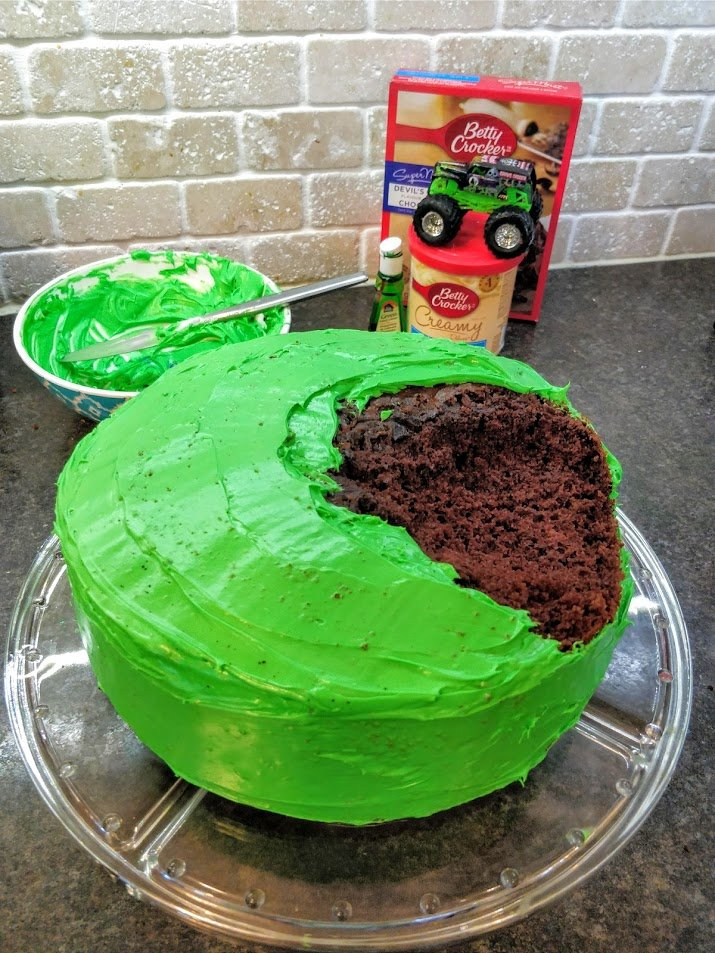 DIY monster truck cake