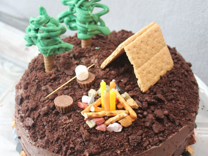 Miraculous Easy Smores Camping Cake For Beginner Bakers Feeling Nifty Personalised Birthday Cards Cominlily Jamesorg