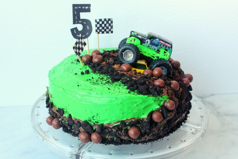 Fabulous How To Make A Monster Truck Cake The Easiest Cake Youll Ever Make Personalised Birthday Cards Sponlily Jamesorg