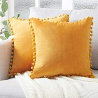 Top Finel Decorative Throw Pillow Covers with Pom Poms Soft Particles Velvet Solid Cushion Covers 18 X 18 for Couch Bedroom Car, Pack of 2, Mustard Yellow