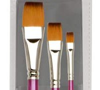 Creative Inspirations Dura-HandleArtist Paint Brushes Long Solid Resin Handle Resists Chips & Cracks - Flat [Set of 3]