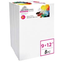 PHOENIX Pre Stretched Canvas for Painting - 9x12 Inch / 8 Pack - 5/8 Inch Profile of Super Value Pack for Oil & Acrylic Paint