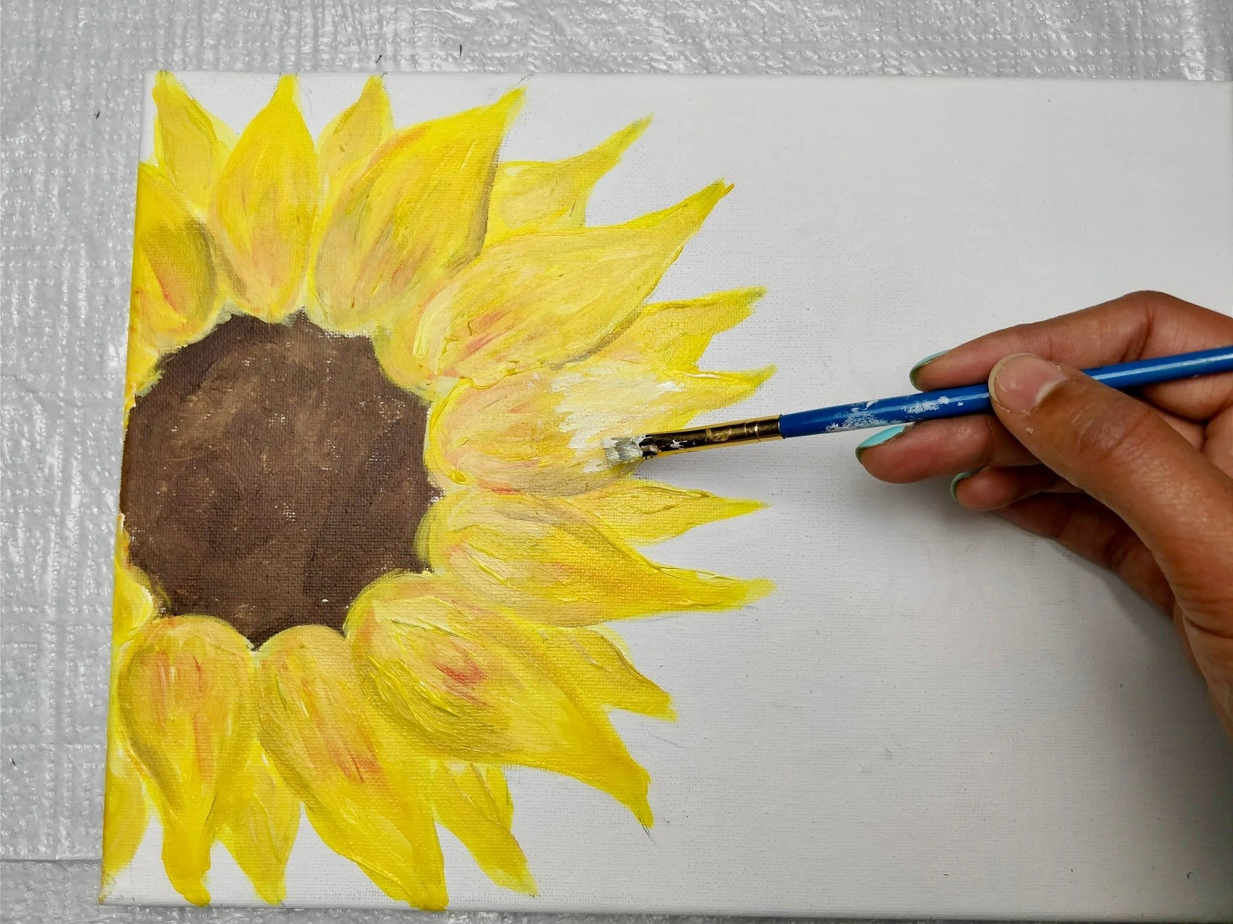 paint a flower on canvas
