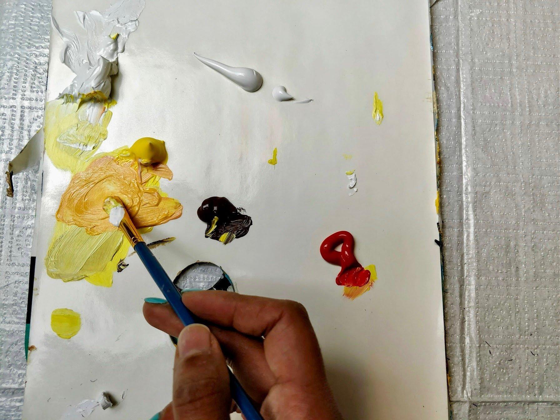 sunflower orange paint highlight acrylic