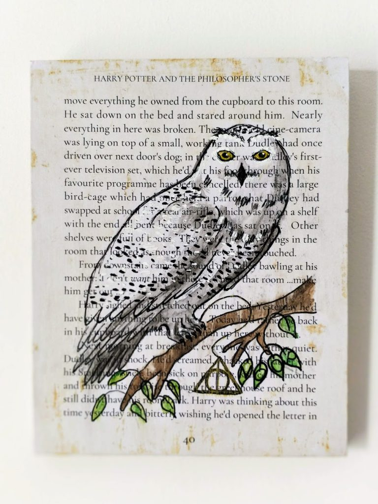 Harry-potter-book-page-art-watercolor-hedwig-print