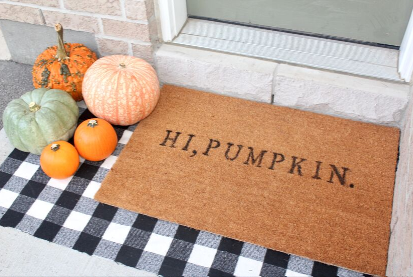 hi pumpkin custom funny doormat diy