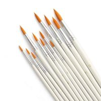 Acrux7 Round Point Paint Brushes Set, 12pcs Paintbrushes Tip Range from Detail Liner, Medium to Large Size for Watercolor, Oil, Acrylic Painting and Craft, Nail, Face Paint (White Pen)