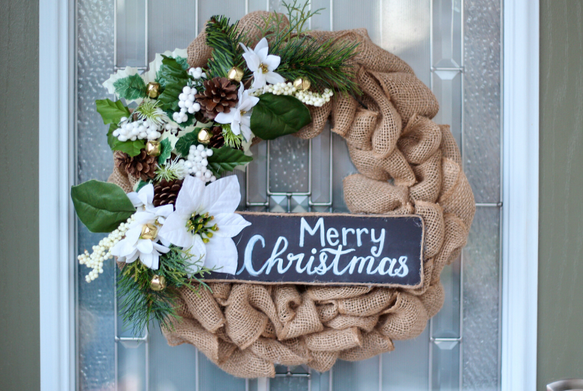 DIY christmas burlap wreath easy