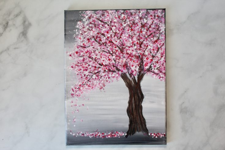 cherry blossom acrylic painting for beginners