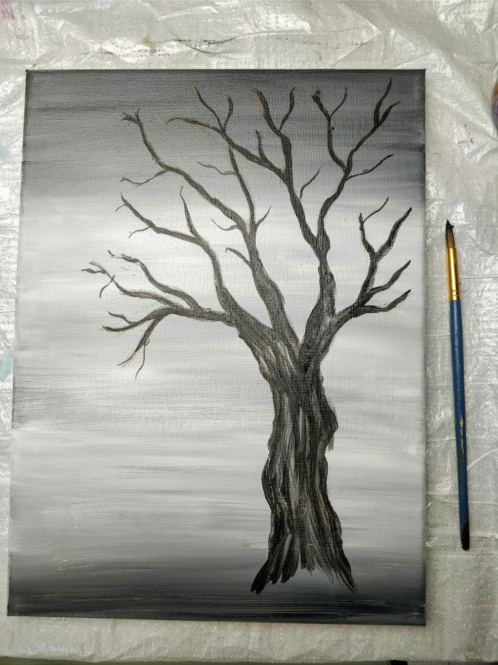 how to draw cherry tree branch and trunk acrylic