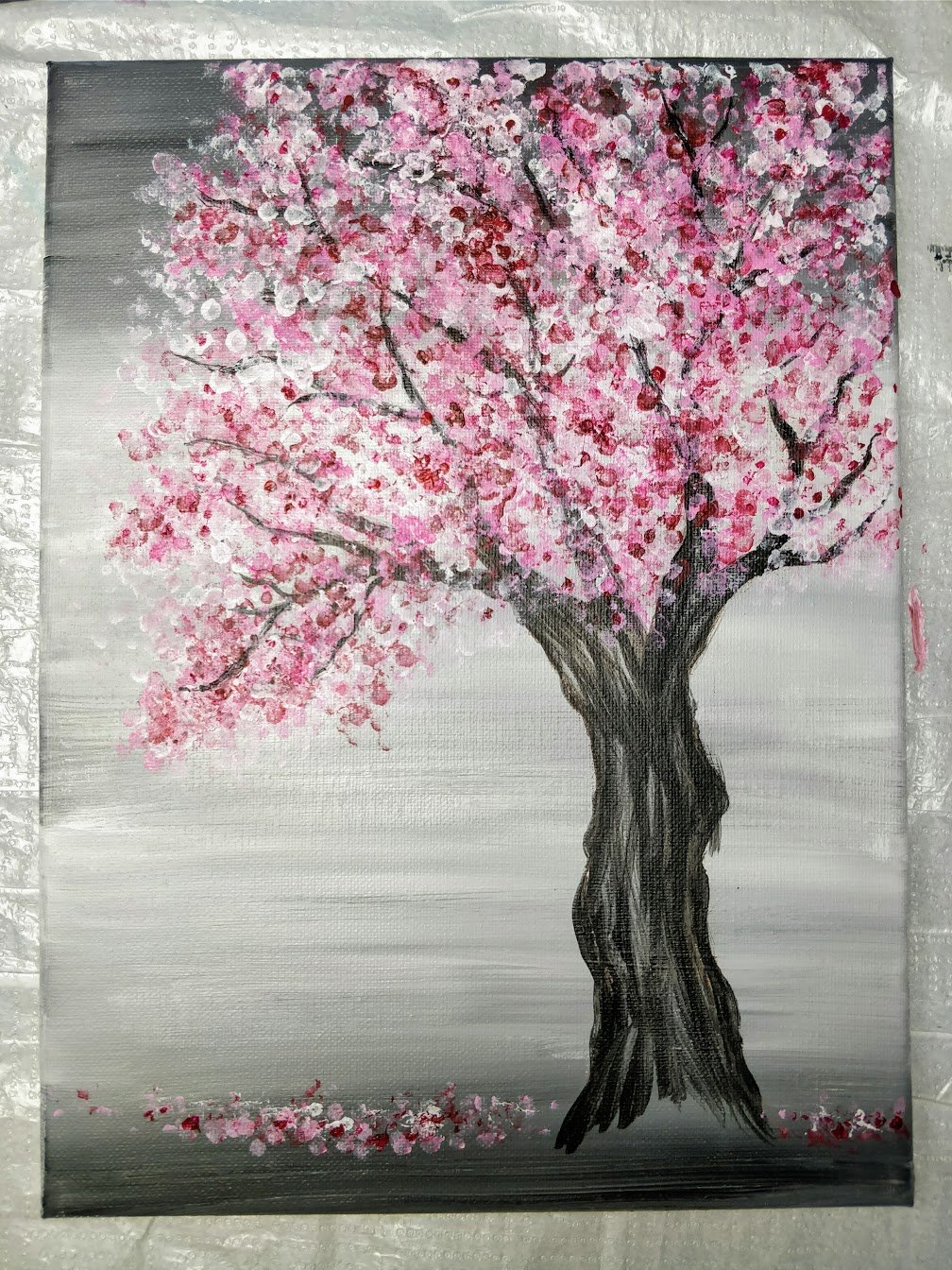 painting cherry blossom acrylic