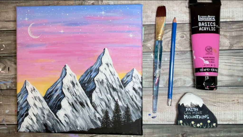 mountain painting pink sunset