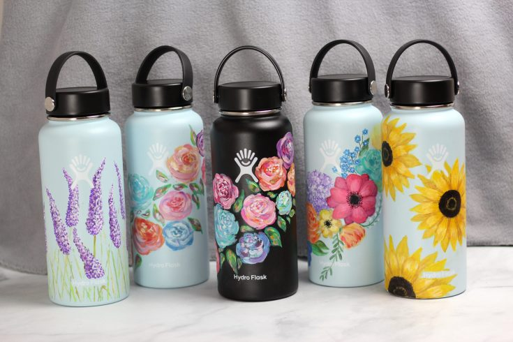 Hydro flask painted flowers