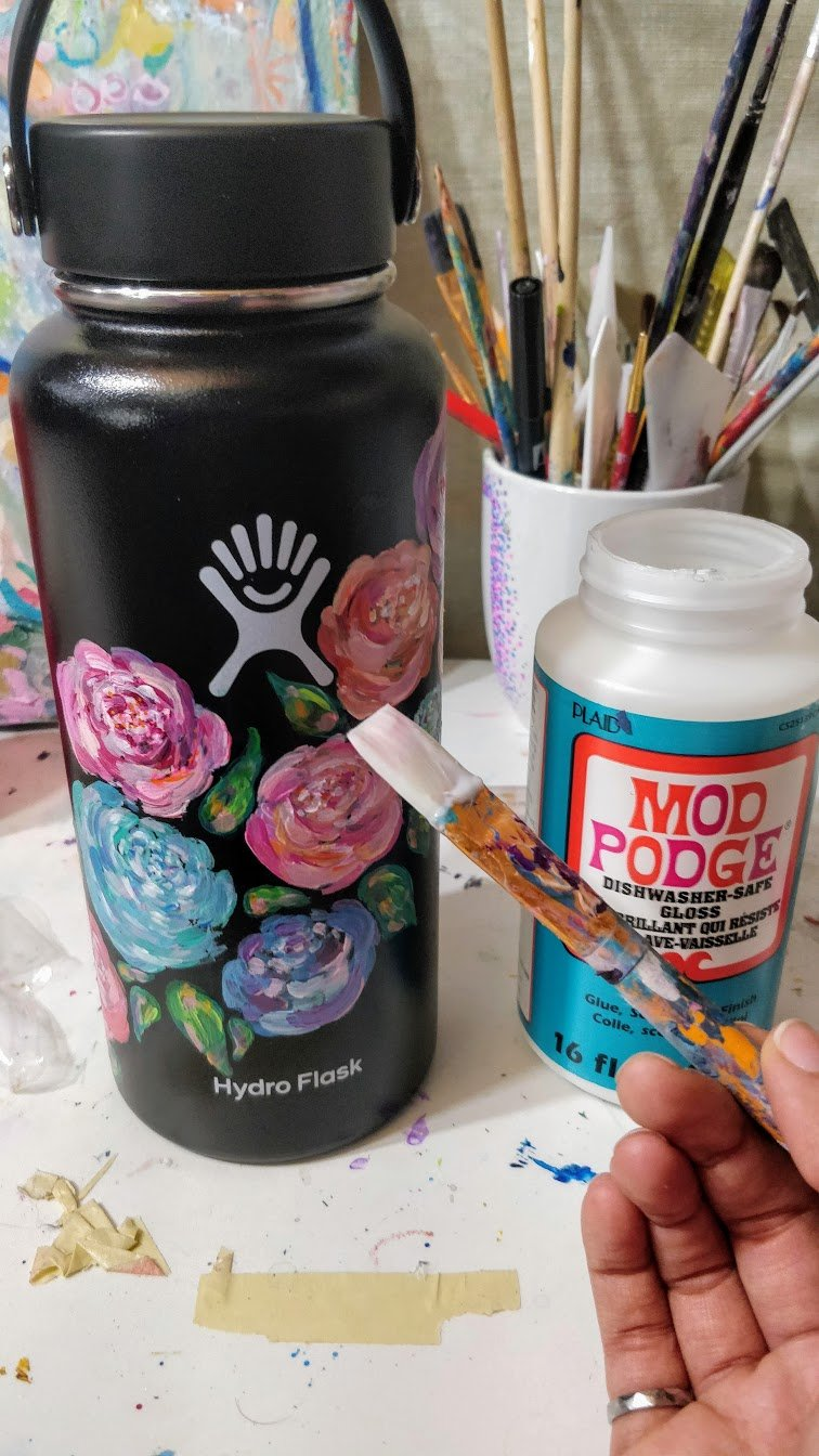 seal paint hydro flask mod podge