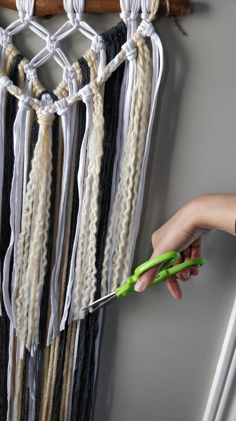 macrame wall hanging yarn step 13 cut