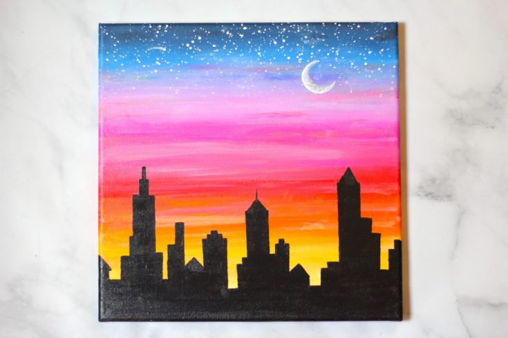 How to paint Sunset Cityscape