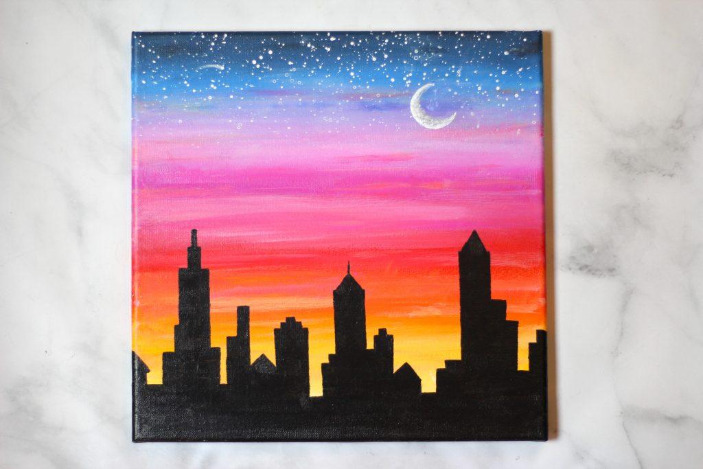 Sunset easy cityscape acrylic painting idea