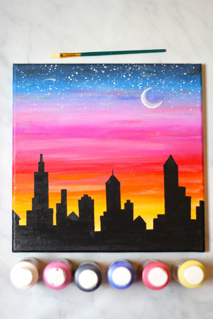 Sunset-cityscape-acrylic-painting-1