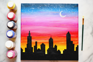 Sunset cityscape painting tutorial