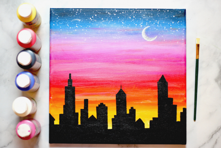 How To Paint a Sunset Cityscape with Acrylics – Easy and Fun!